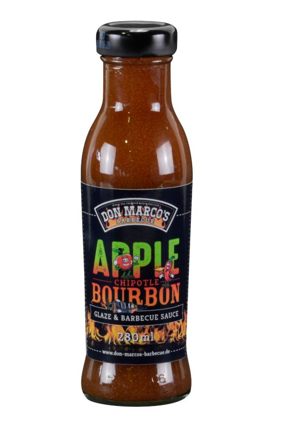 Apple Chipotle Bourbon Glaze & Barbecue Sauce, in Glasflasche