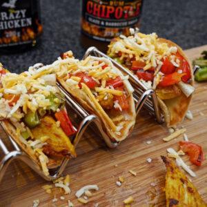 fertiges Taco Rezept mit Glaze & Rub im Hintergrund